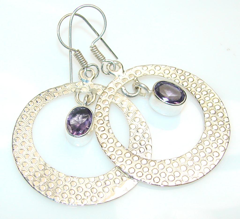 Delicate Amethyst Silver Tone earrings