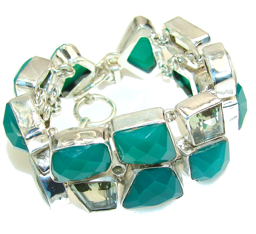 Hanging Garden!! Green Agate Sterling Silver Bracelet
