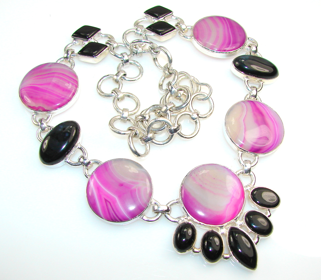 Aura Of Beauty!! Botswana Agate Silver Tone necklace