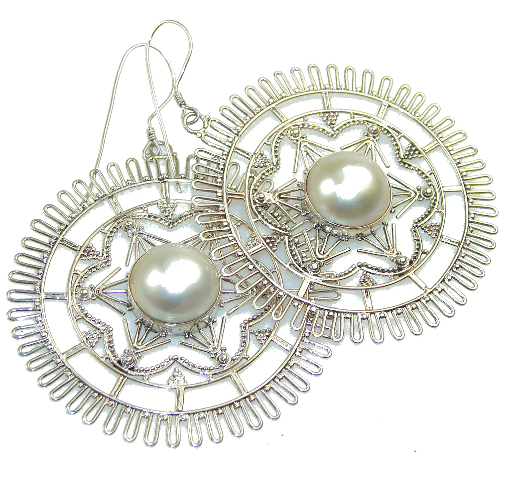 Big!! Beautiful Blister Pearl Sterling Silver Earrings