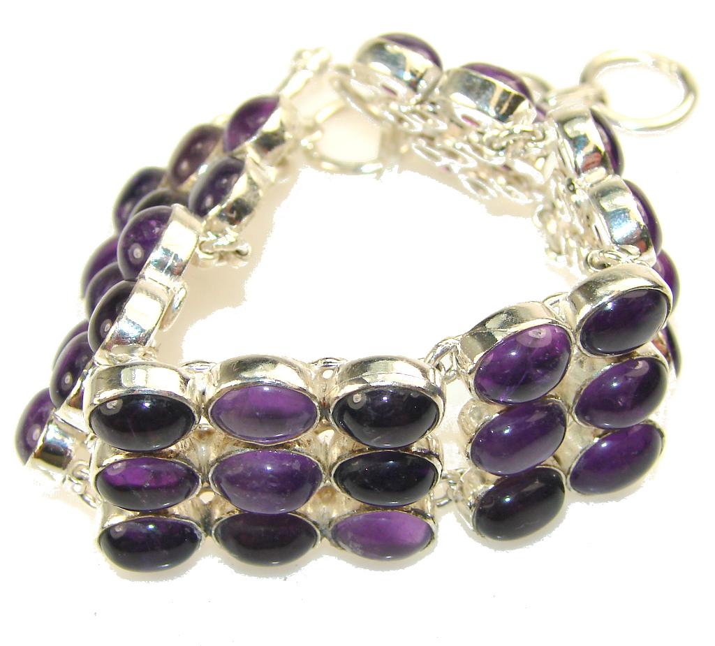 Real Natural Purple Amethyst Sterling Silver Bracelet