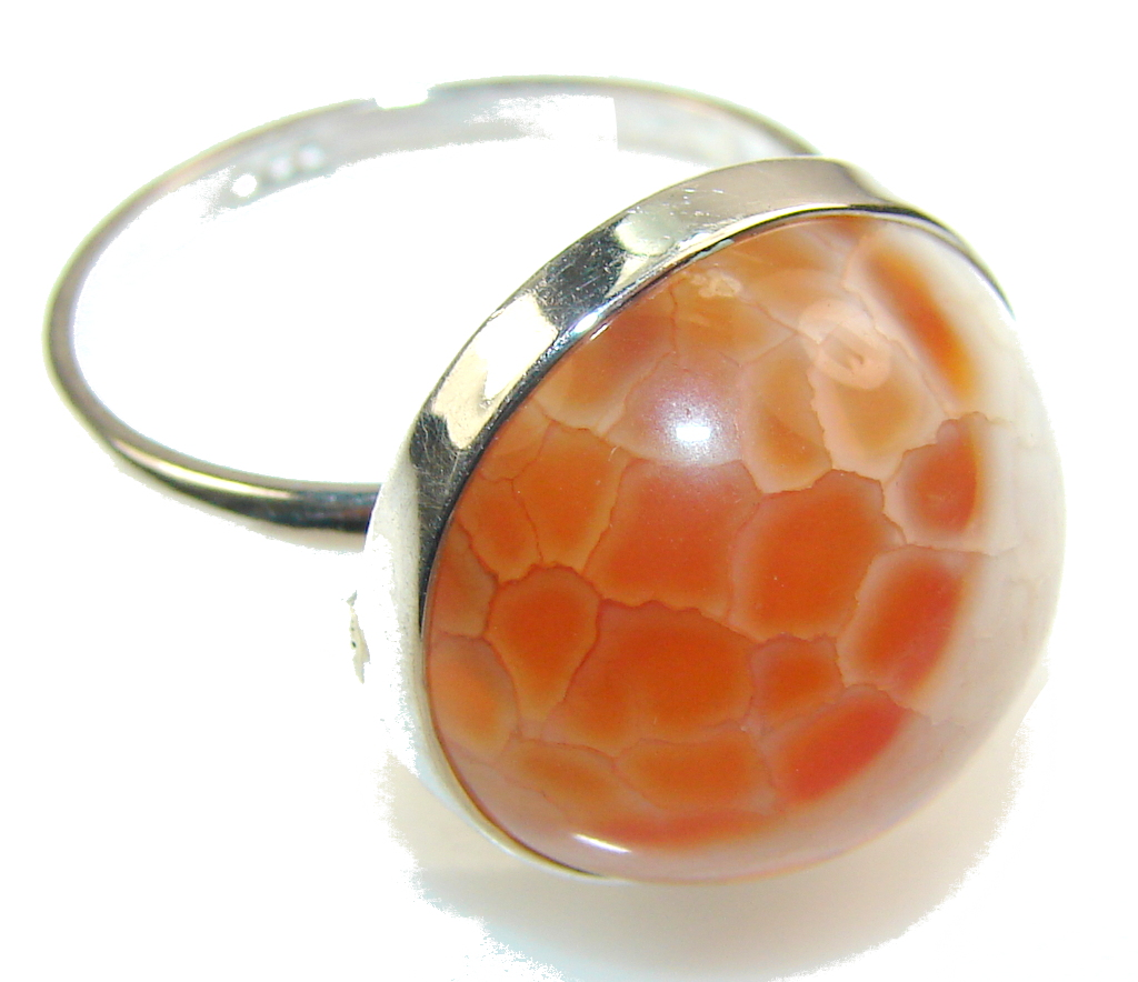 Perfect Mexican Fire Agate Sterling Silver Ring s. 11