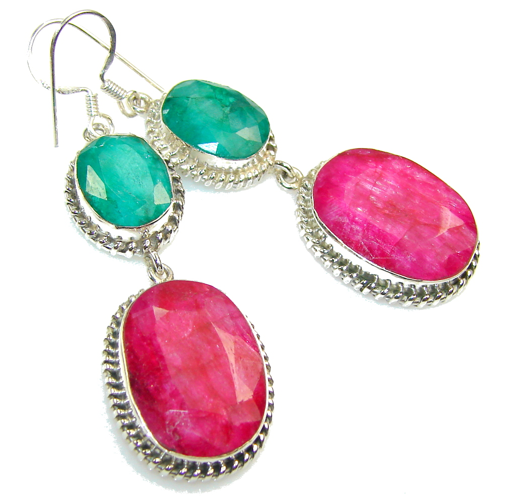 Exotic Design!! Pink Ruby Sterling Silver earrings