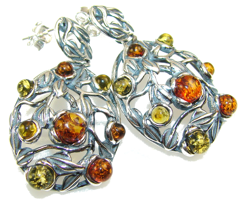 Stylish Multicolor Polish Amber Sterling Silver earrings