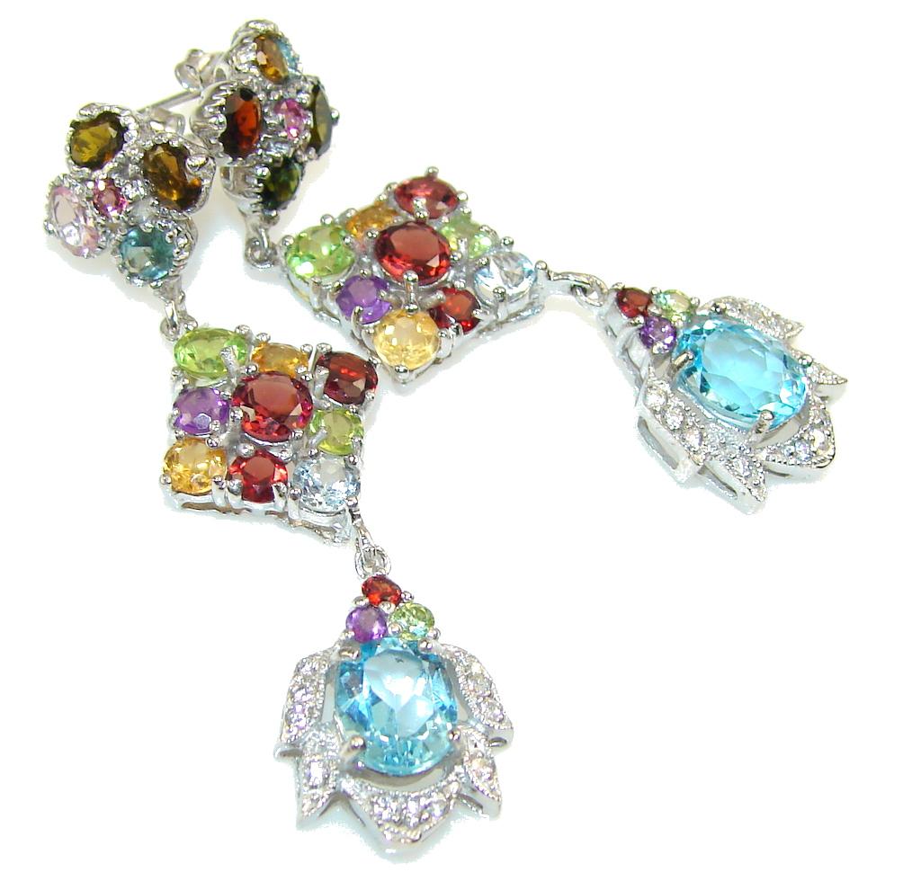 Exotic Colors Of Multigem Sterling Silver earrings