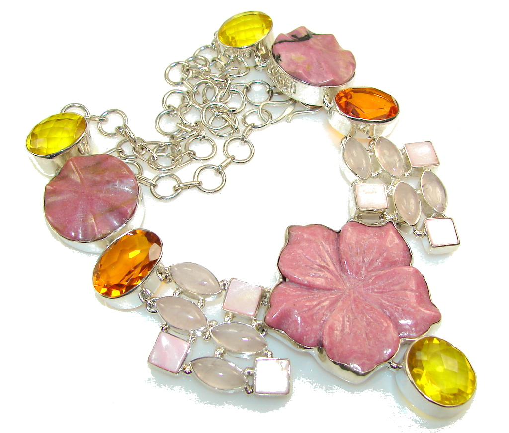 Awesome Carved Pink Rhodonite Sterling Silver necklace