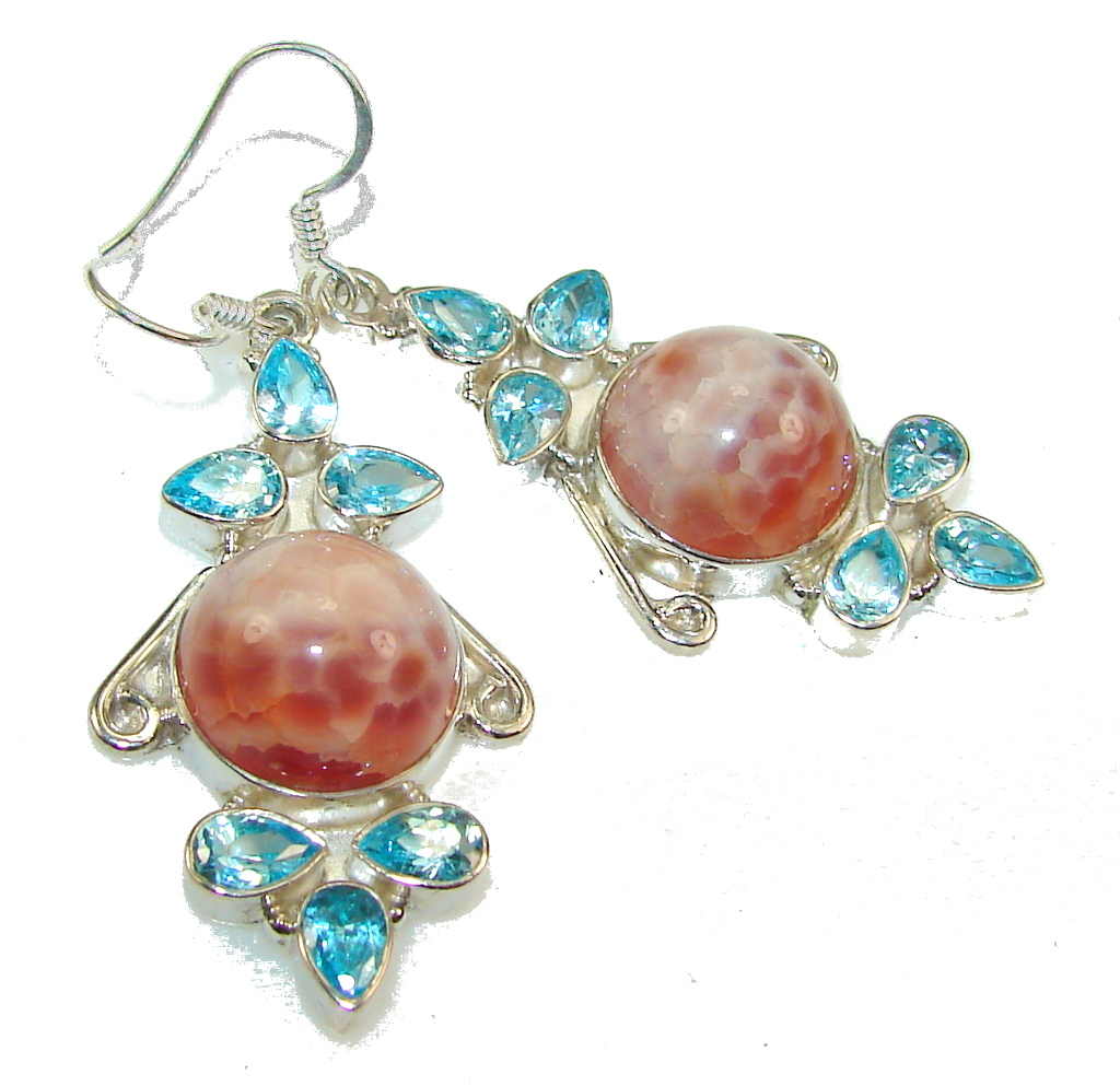 Excellent Mexican Fire Agate Sterling Silver earrings