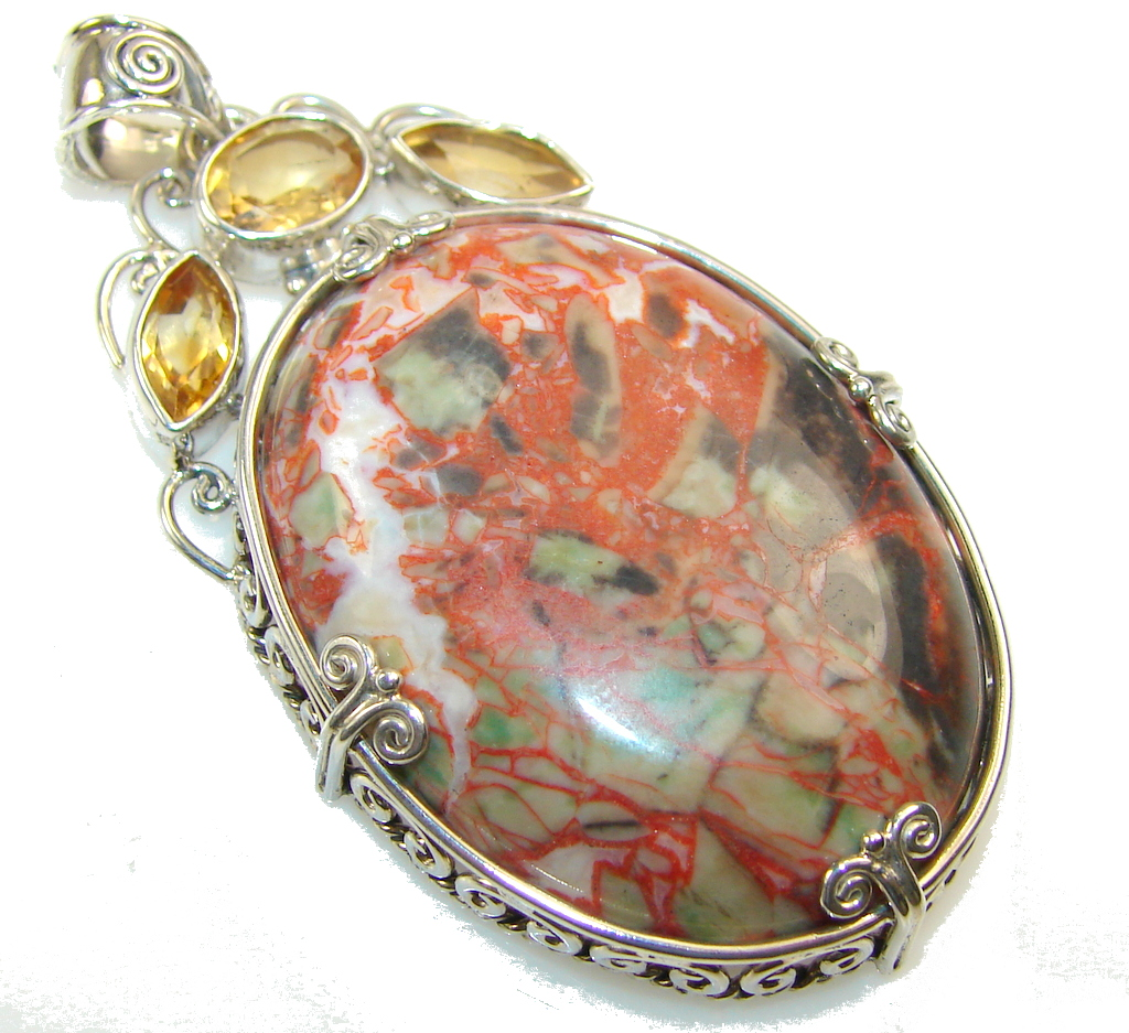 Afton Canyon Cady Mountain CA AAA Moss Agate Sterling Silver Pendant