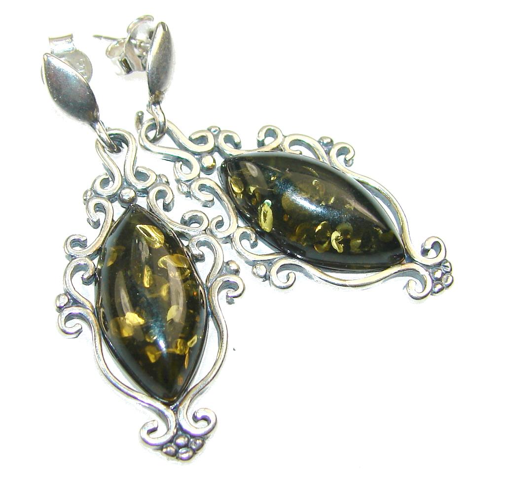 Beautiful Green Polish Amber Sterling Silver earrings