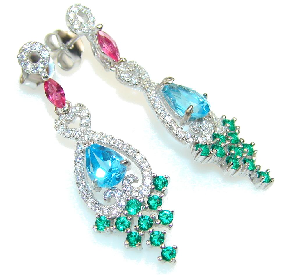 Excellent Design!! Blue Topaz Sterling Silver earrings