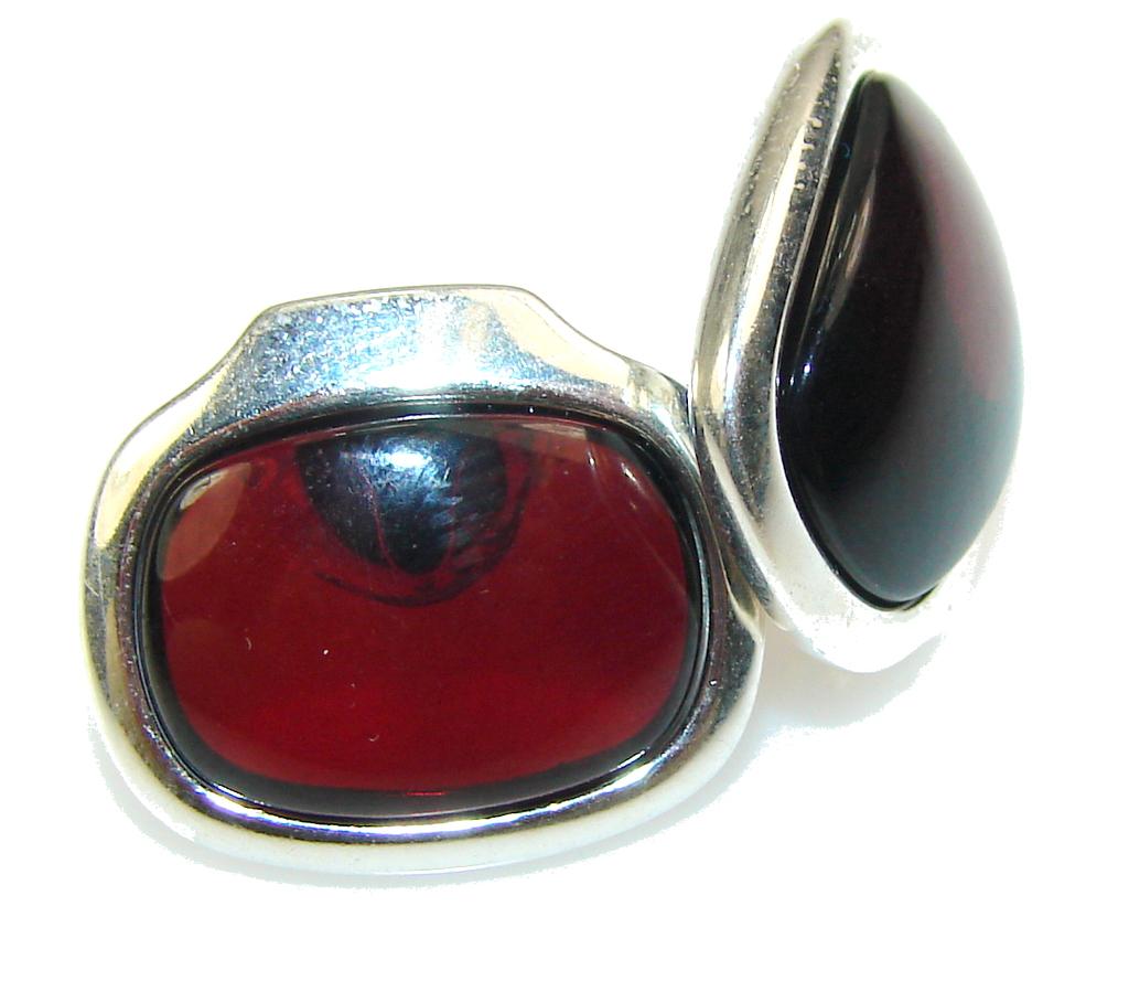 Fabulous Dark Brown Polish Amber Sterling Silver earrings