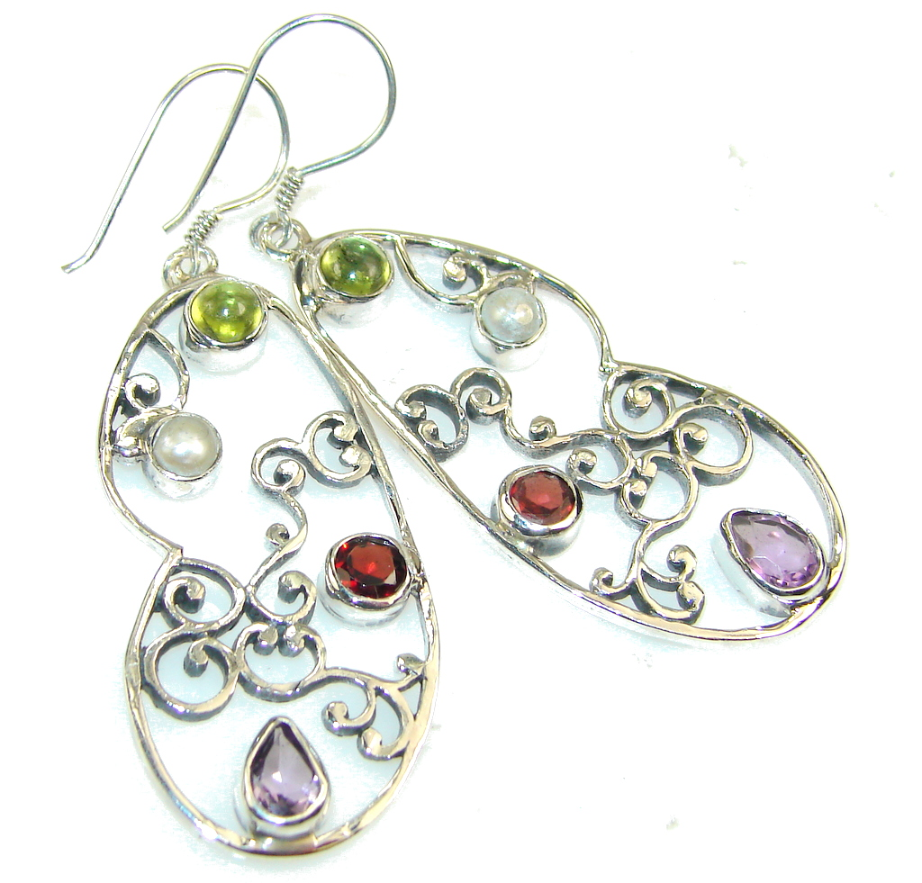 Awesome Natural Multigem Sterling Silver earrings