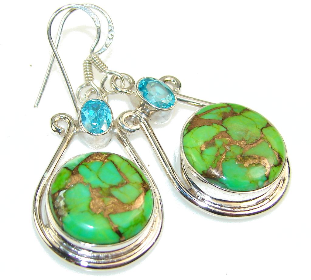 Fresh Green Copper Turquoise Sterling Silver earrings