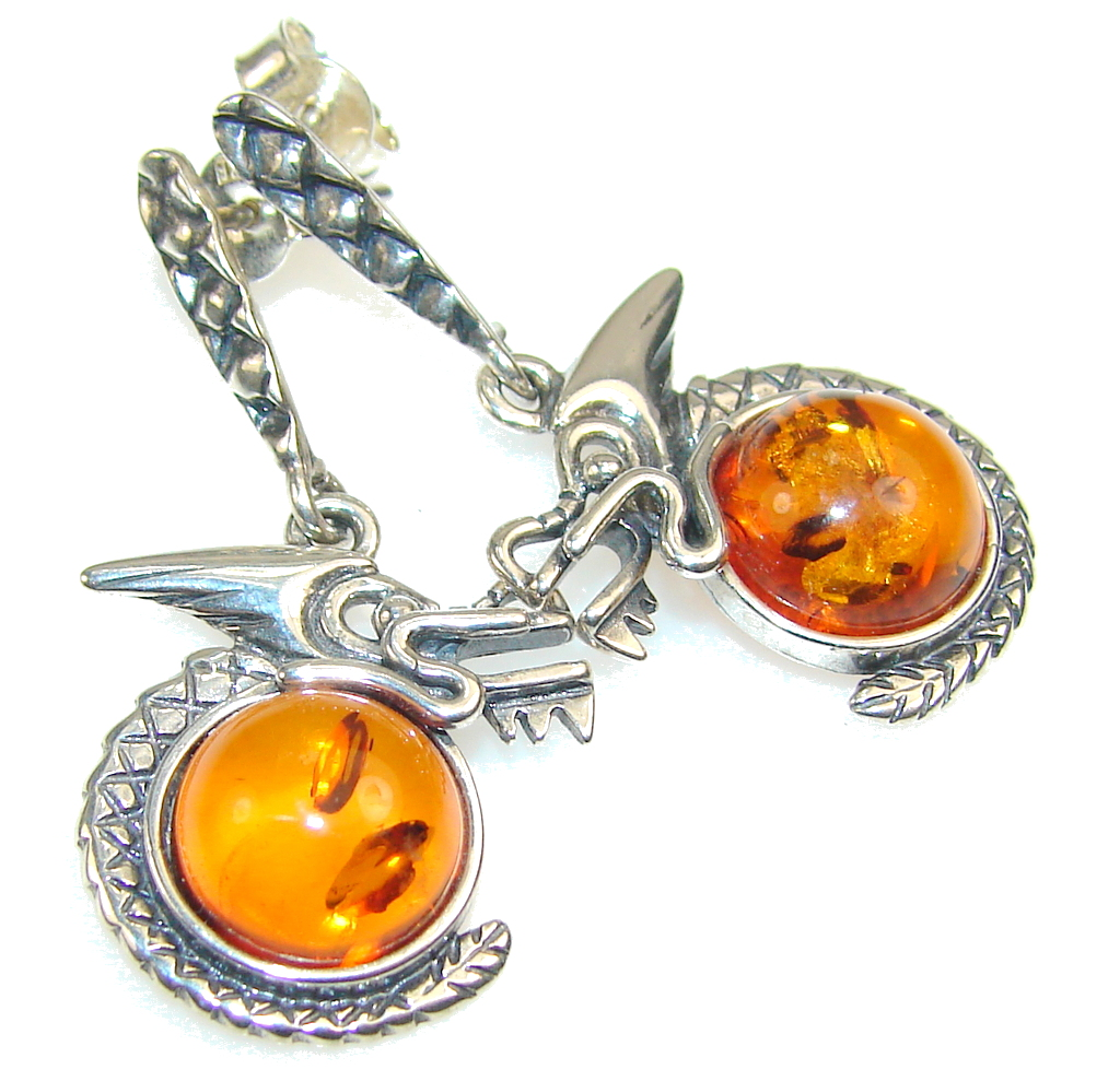 Stylish Brown Polish Amber Sterling Silver earrings