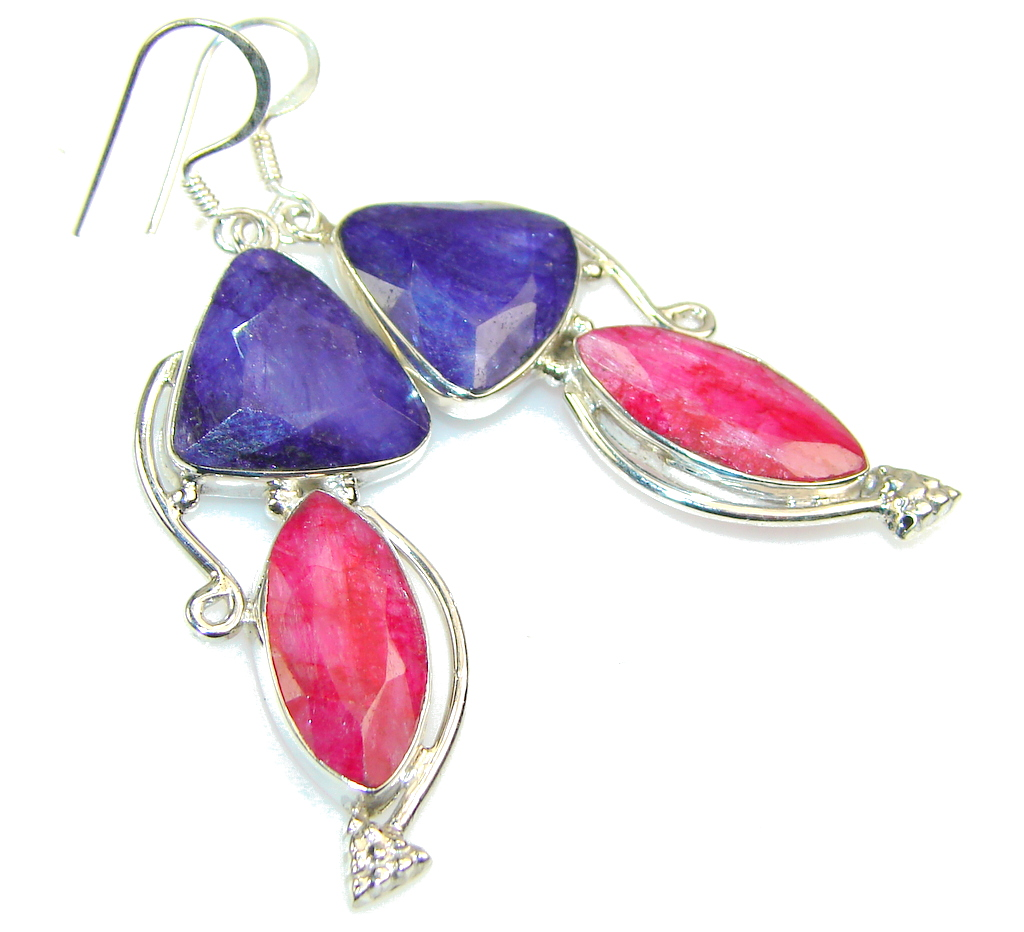 Excellent Pink Ruby Sterling Silver earrings