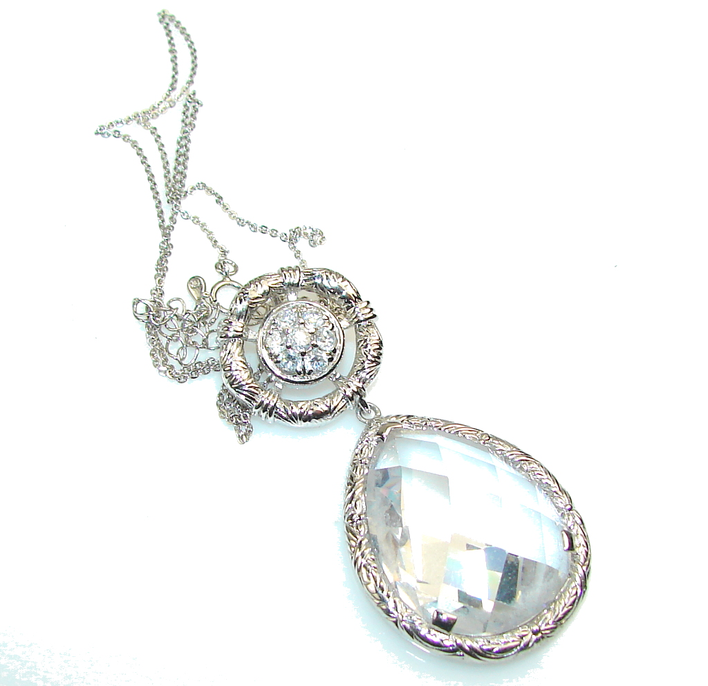Queen Of Diamonds!! White Crystal Sterling Silver necklace