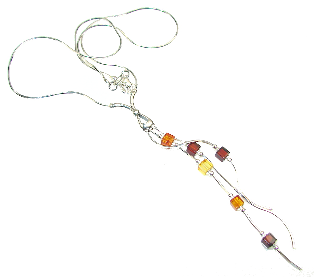 Love Declared!! Polish Amber Sterling Silver necklace