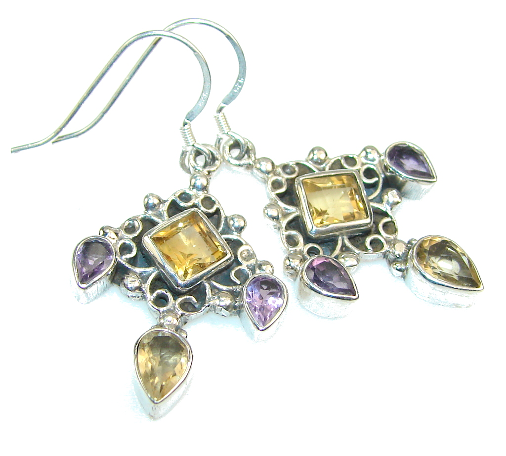 Amazing Rich Yellow Citrine Sterling Silver earrings