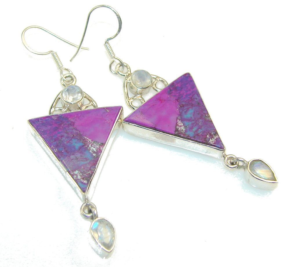Excellent Purple Turquoise Sterling Silver earrings