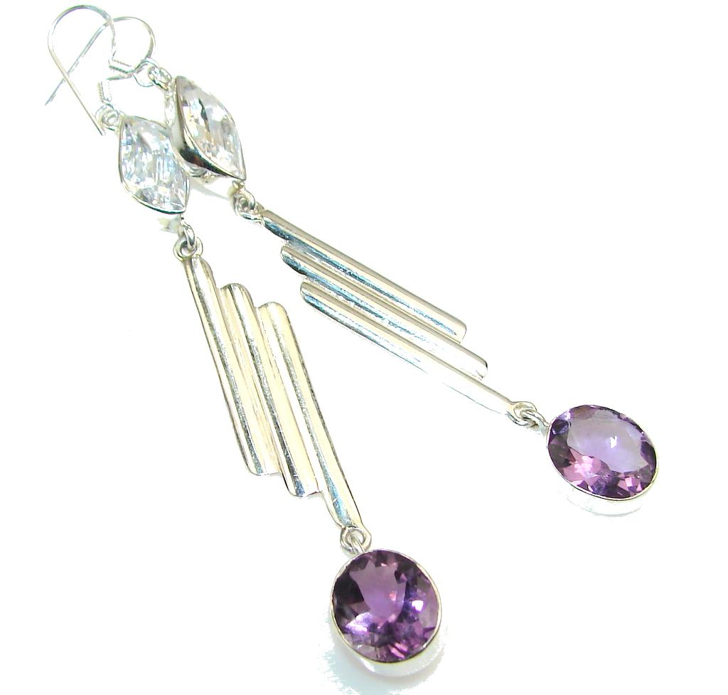 Modern Design!! Purple Amethyst Sterling Silver earrings / Long