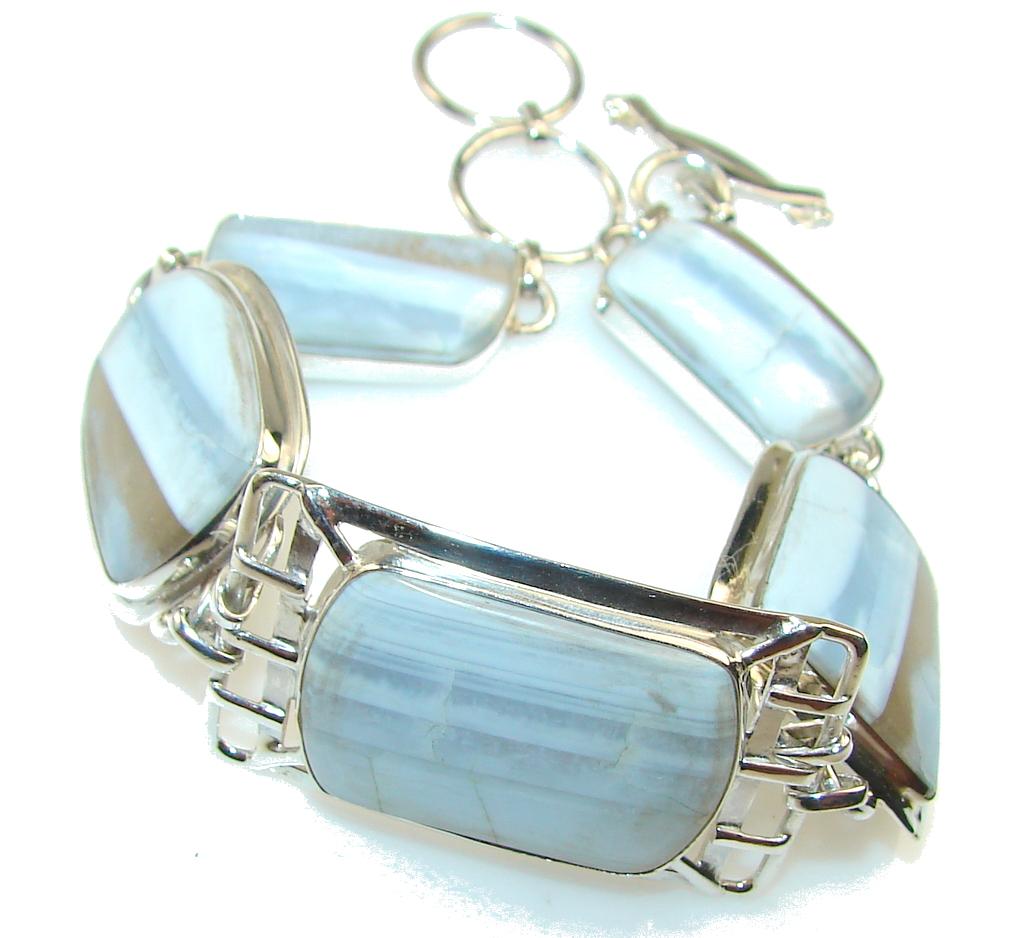 Precious Blue Lace Agate Sterling Silver Bracelet