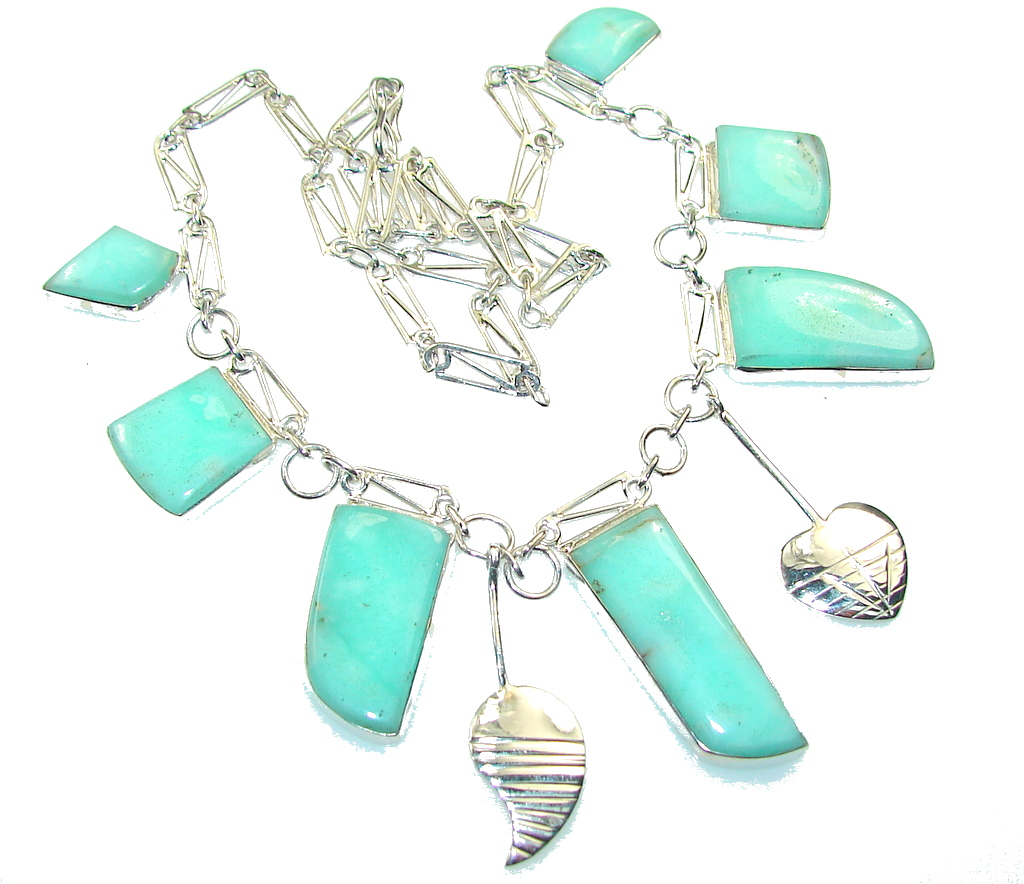 Living Forest!! Green Chrysoprase Sterling Silver Necklace