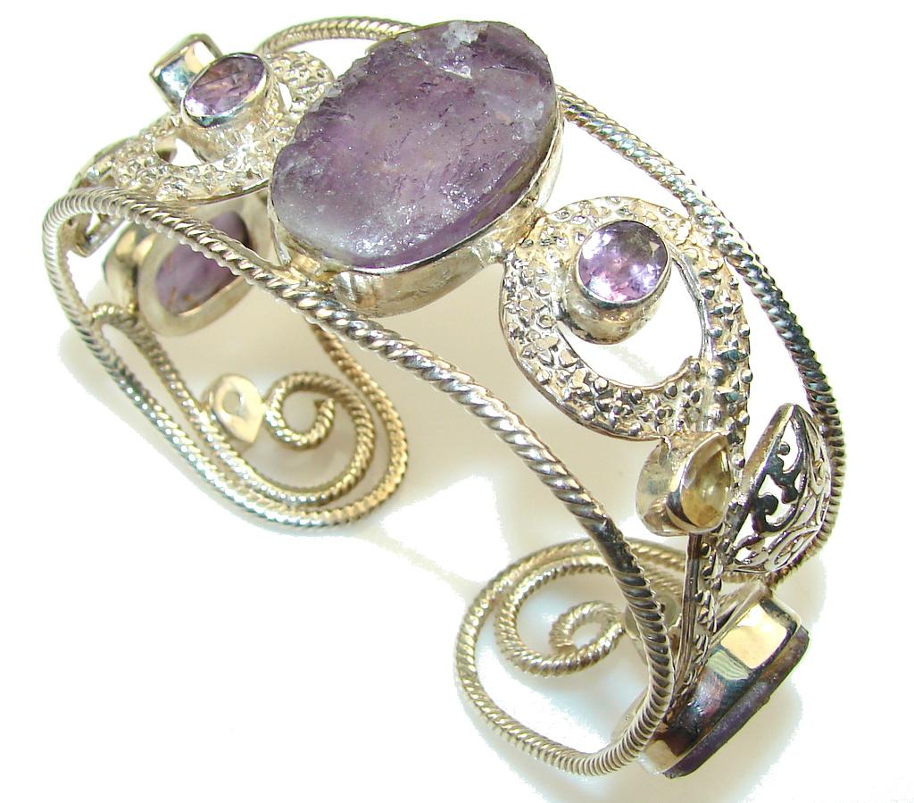 New Amazing DEsign!! Amethyst Cluster Sterling Silver Bracelet / Cuff