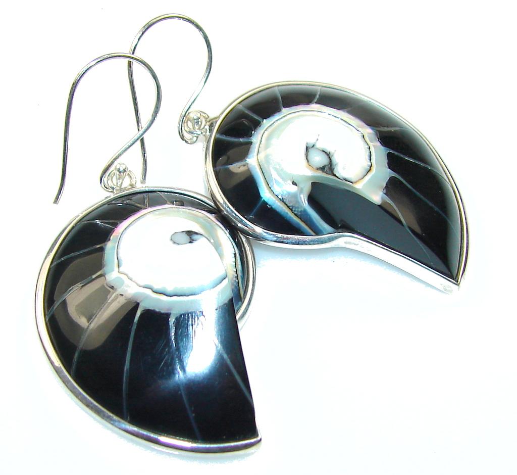 Excellent Black Ocean Shell Sterling Silver earrings