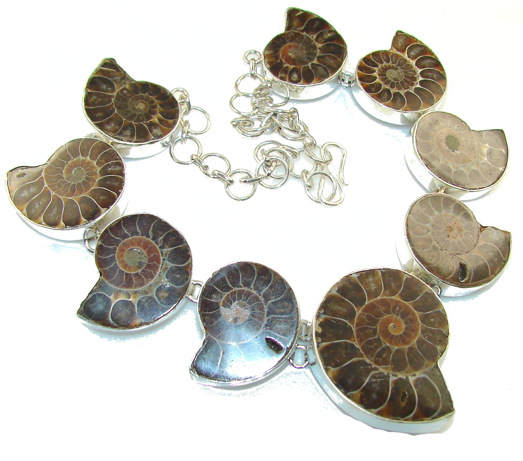 Ocean Night! Ammonite Fossil Sterling Silver necklace