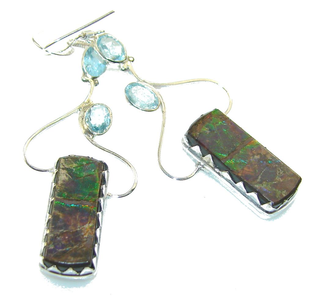 Awesome Green Ammolite Sterling Silver earrings