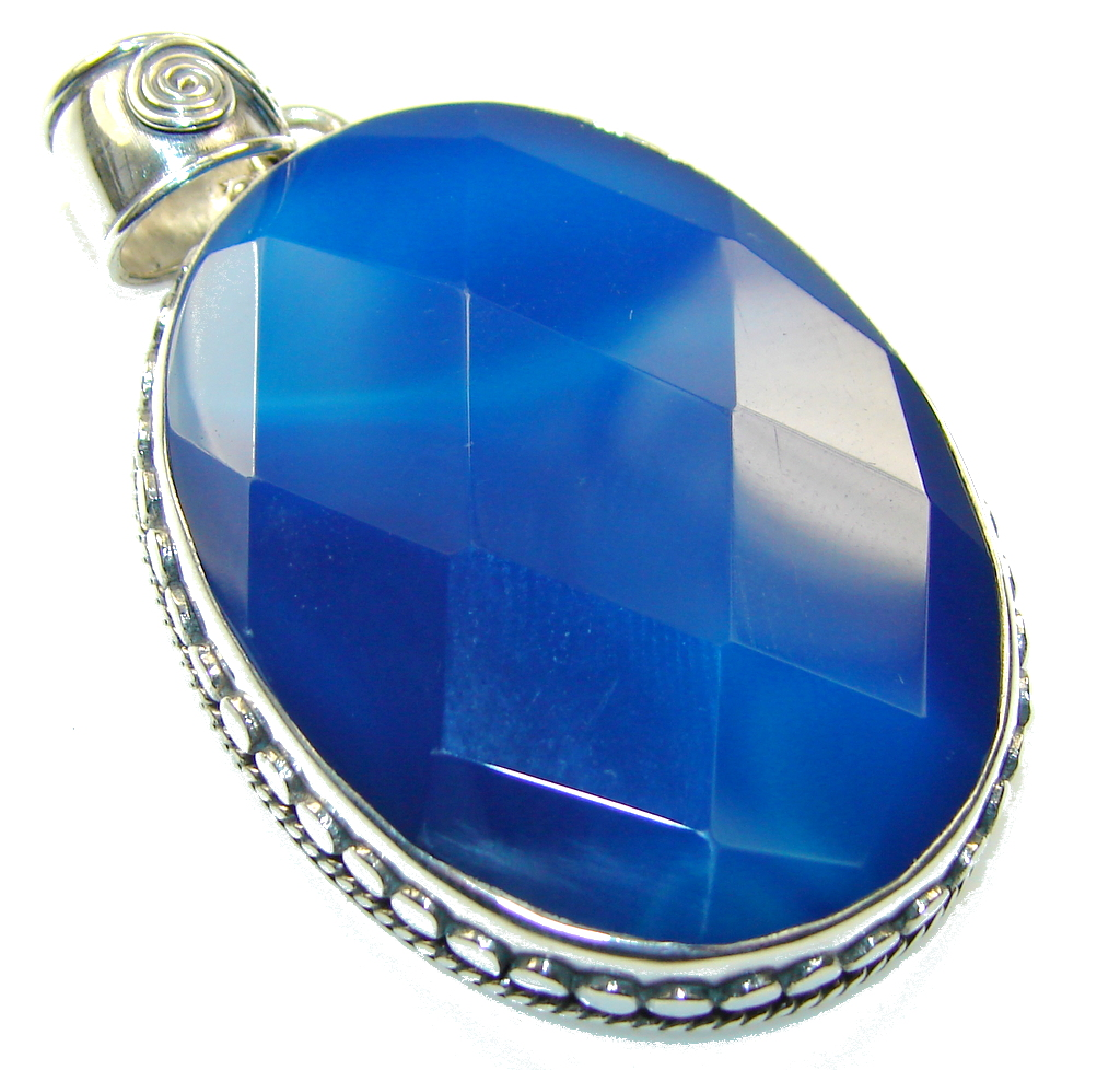 Awesome Color Of Blue Agate Sterling Silver Pendant