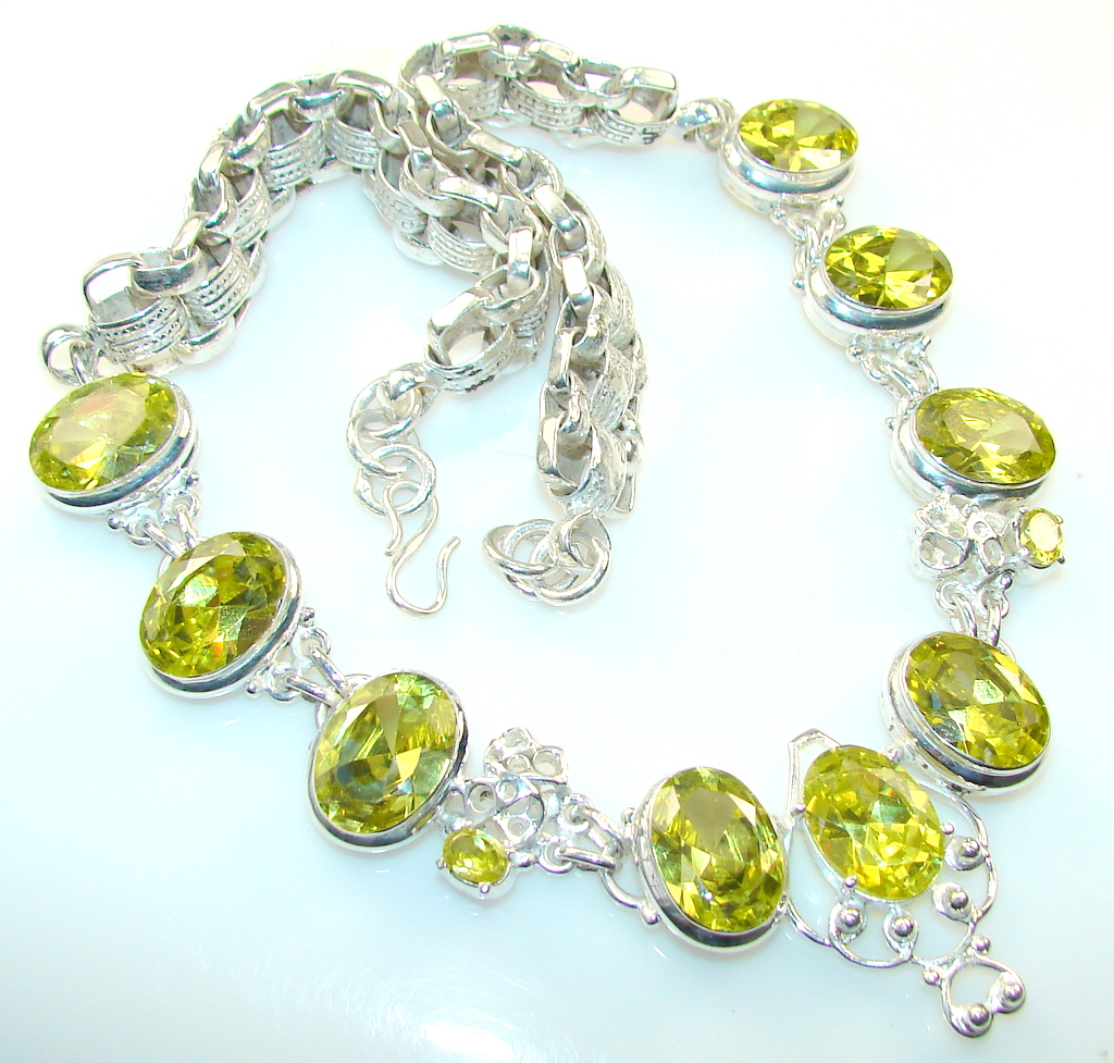 Summer Style Citrine Quartz Silver Plated necklace
