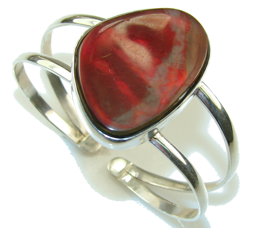 Beautiful New Design!! Red Ammolite Sterling Silver Bracelet / Cuff