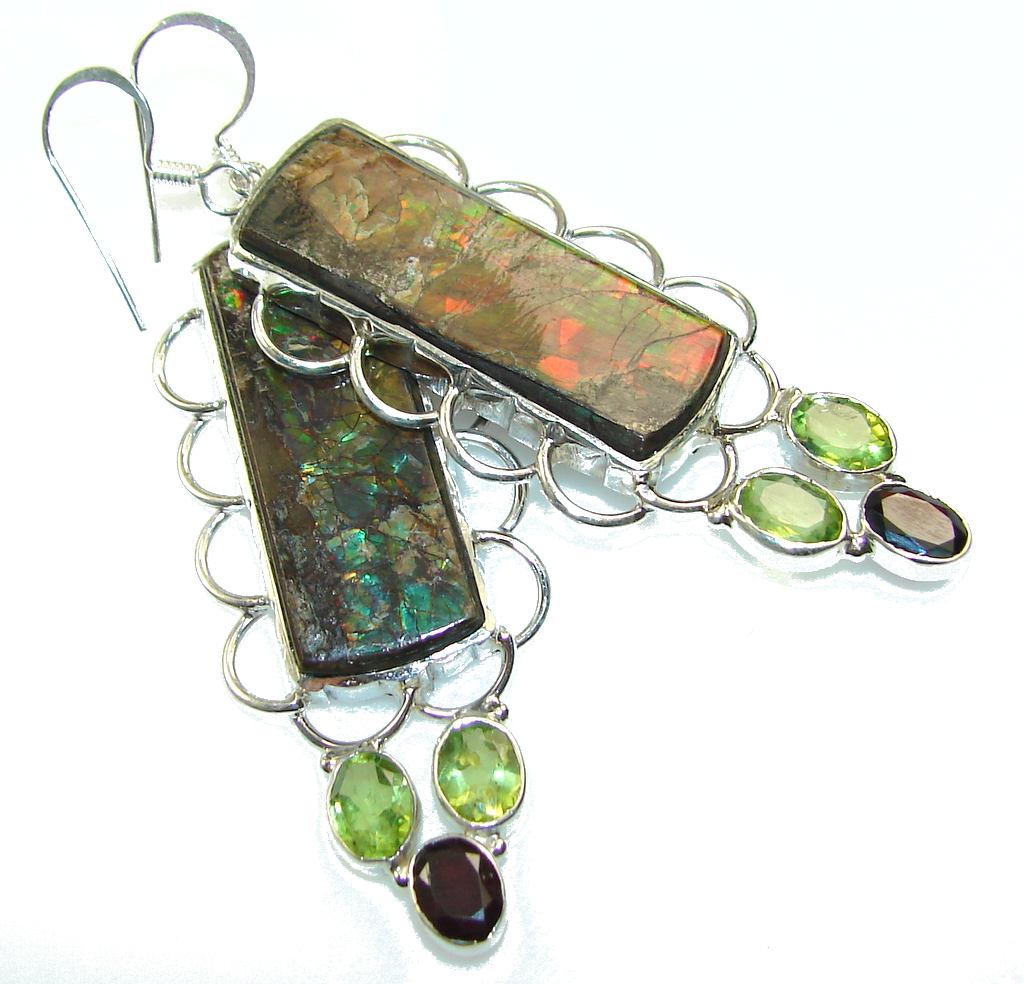 Awesome Red Ammolite Sterling Silver earrings