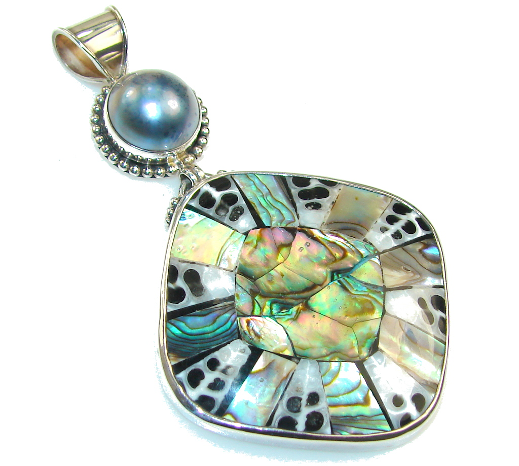 Big! Amazing Rainbow Abalone & Shell Sterling Silver Pendant