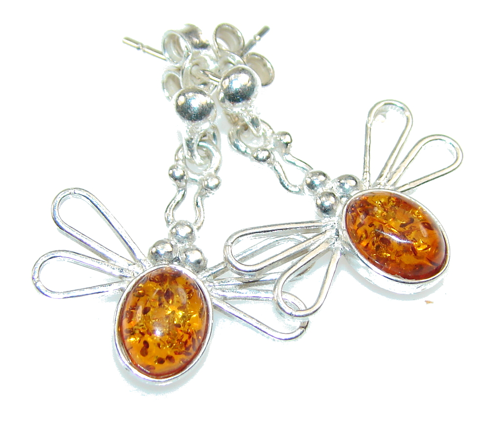 Delicate Brown Polish Amber Sterling Silver earrings