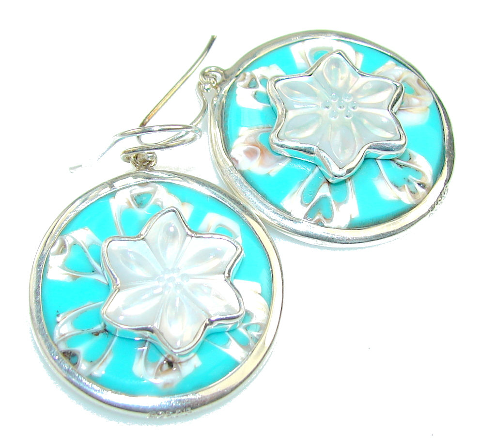 Empress Design!! Green Shell Sterling Silver earrings