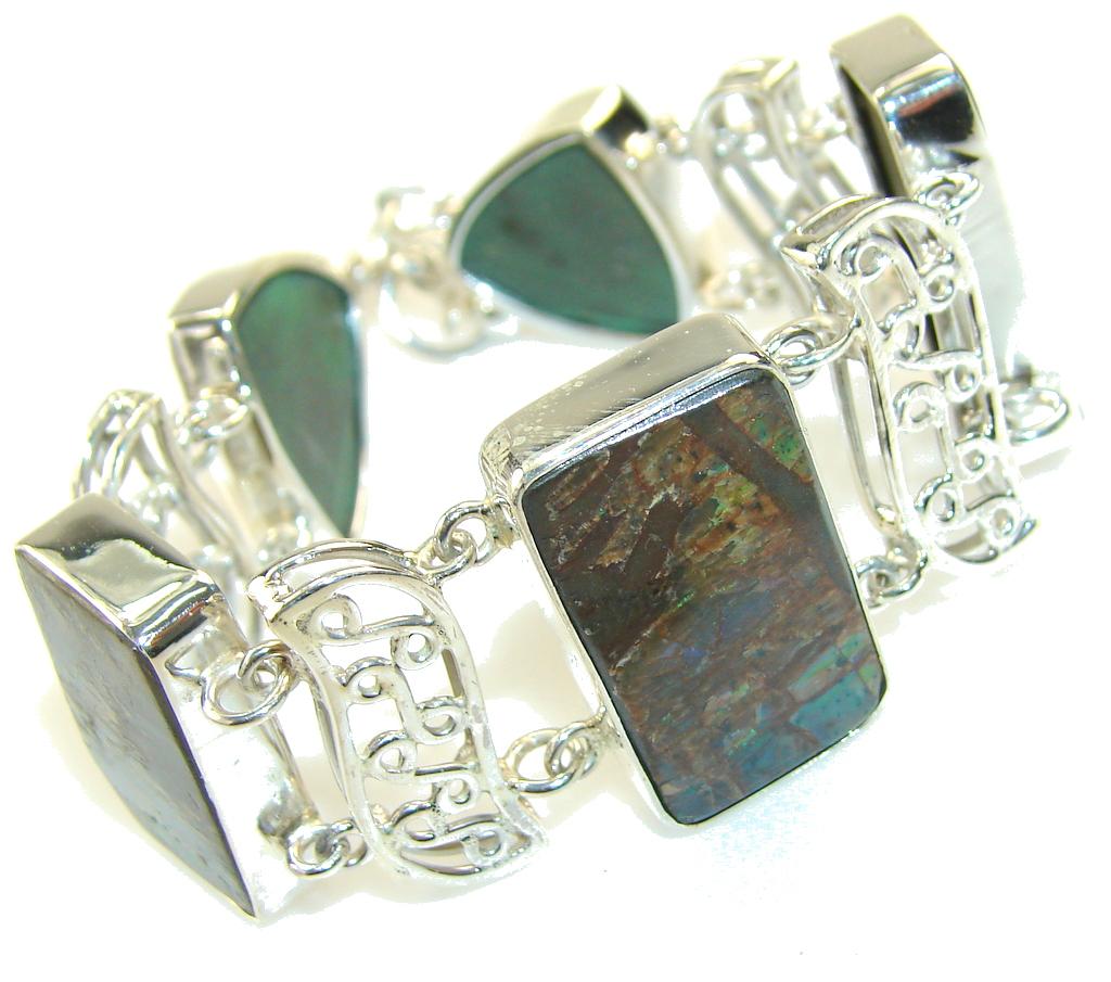 Beautiful Green Ammolite Sterling Silver Bracelet