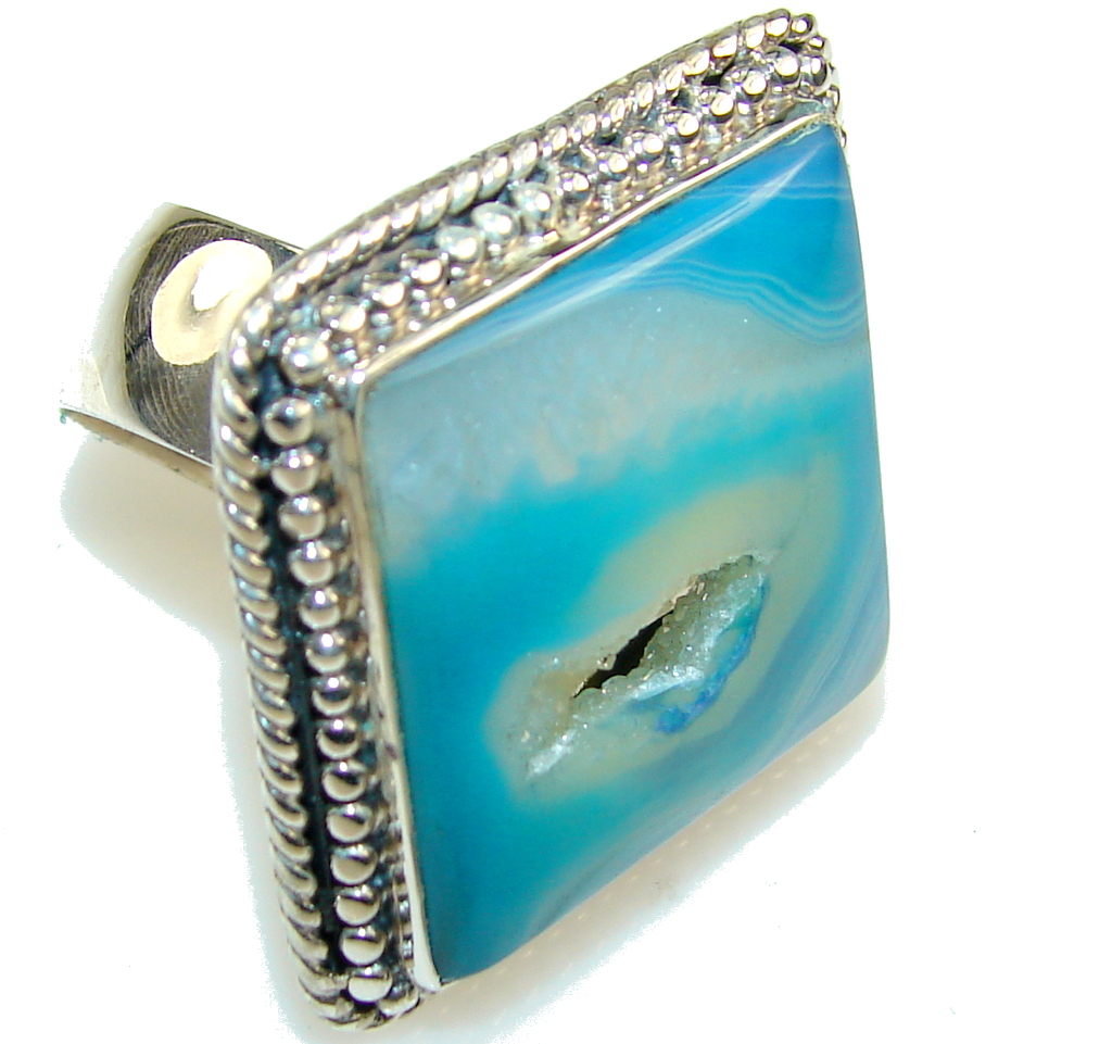 Stylish Blue Agate Druzy Sterling Silver Ring s. 10