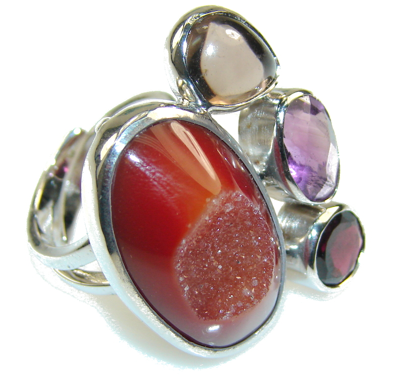 Excellent Brown Agate Druzy Sterling Silver Ring s. 7- adjustable