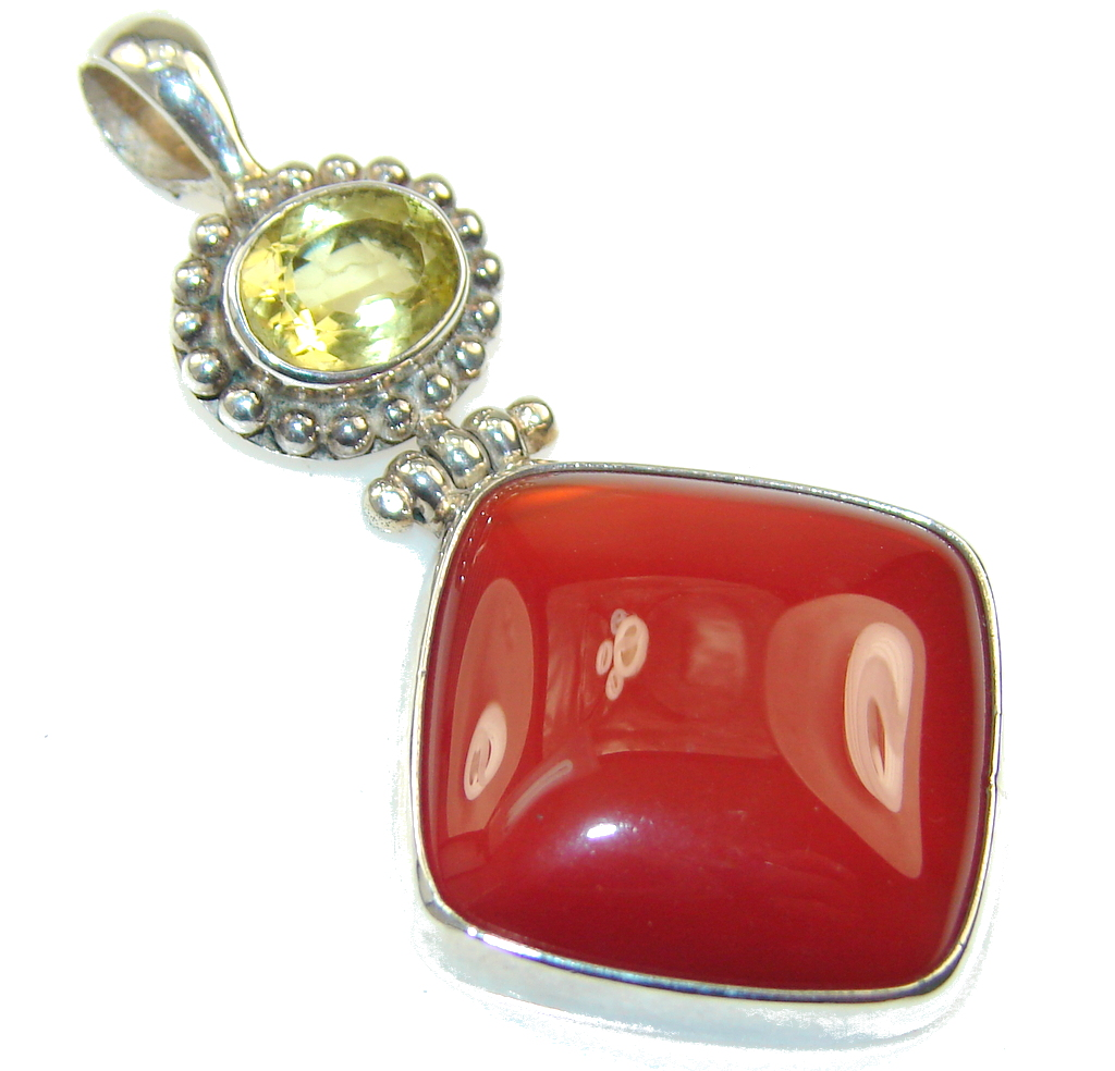 Azure Fruit!! Brown Agate Sterling Silver Pendant
