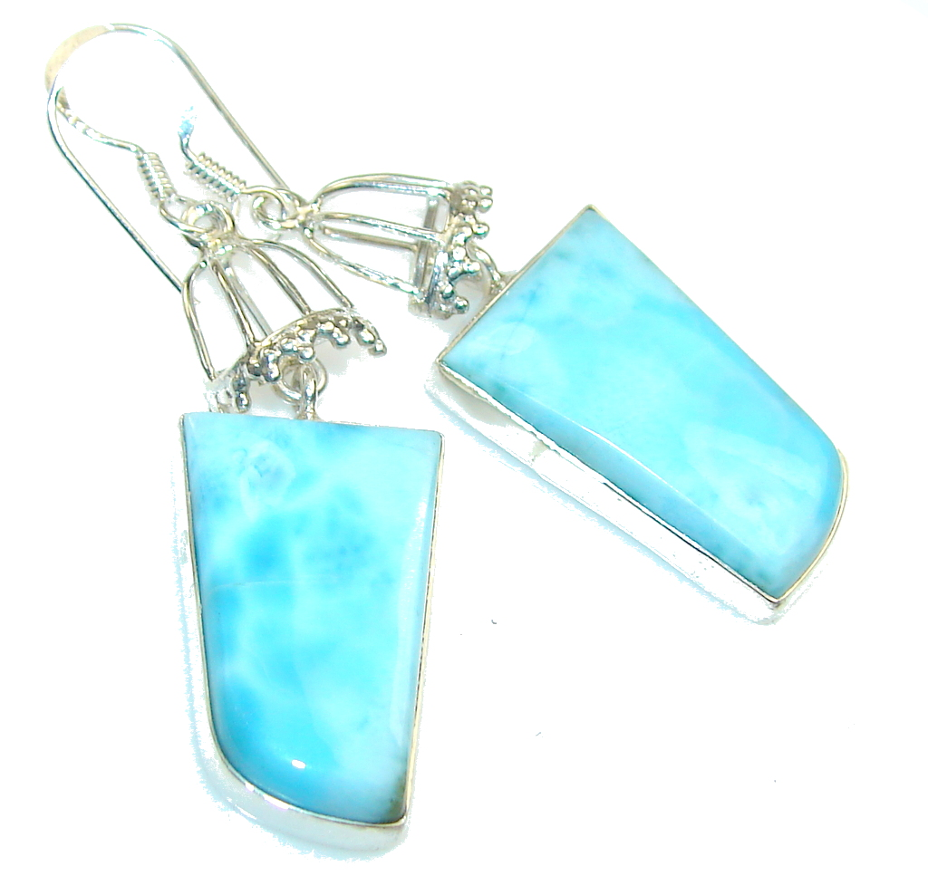 Fabulous Light Blue Larimar Sterling Silver earrings