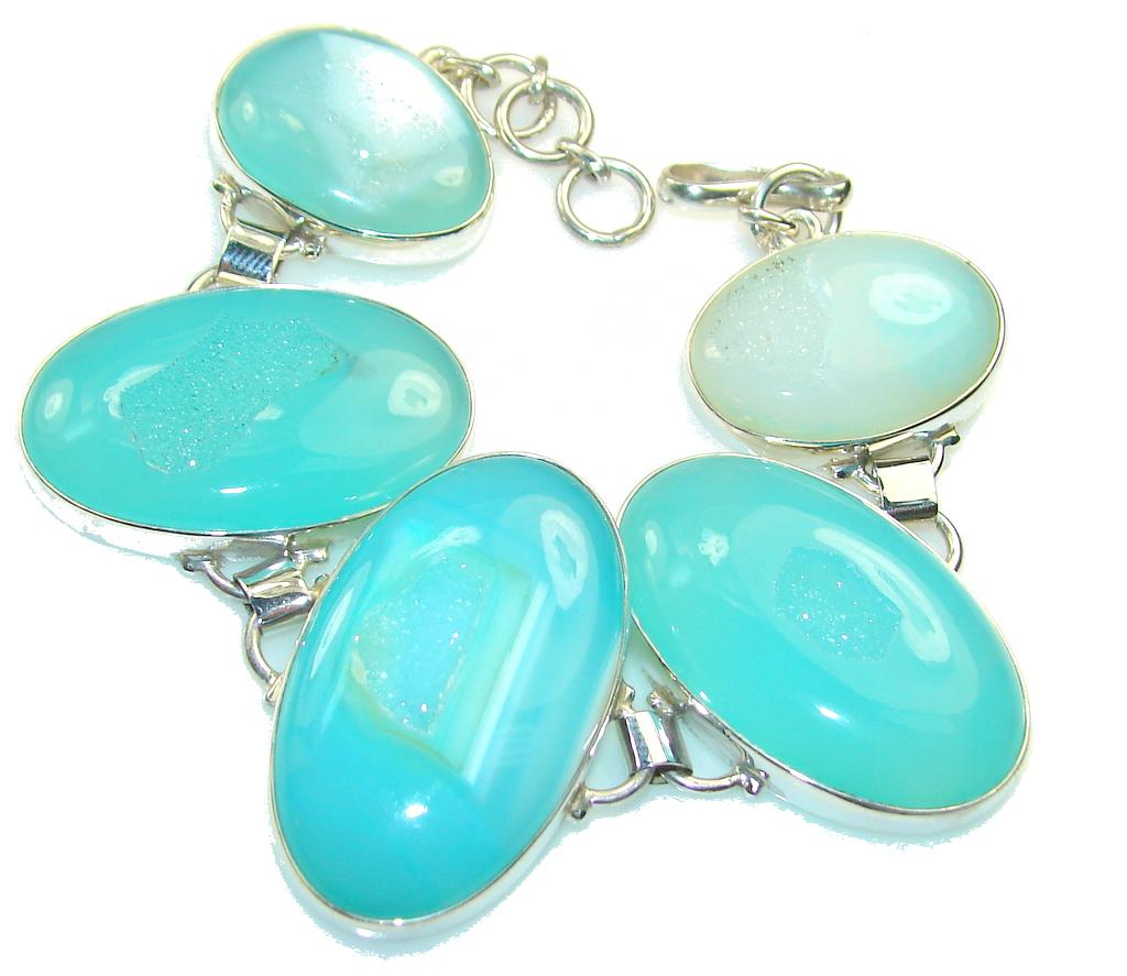 Secret Blue Agate Druzy Sterling Silver Bracelet