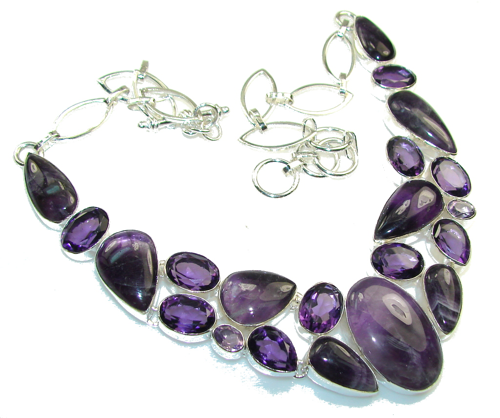 Gorgeous Design!! Natural Amethyst Sterling Silver Necklace