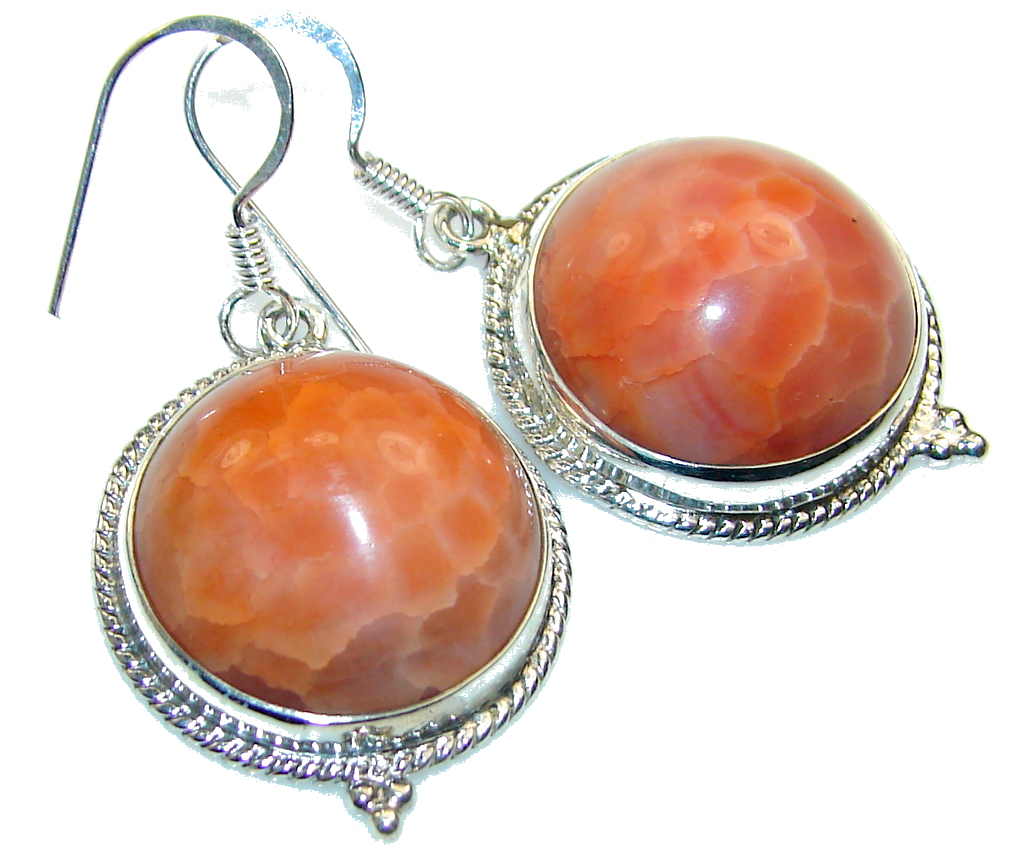 Fantastic Mexican Fire Agate Sterling Silver earrings