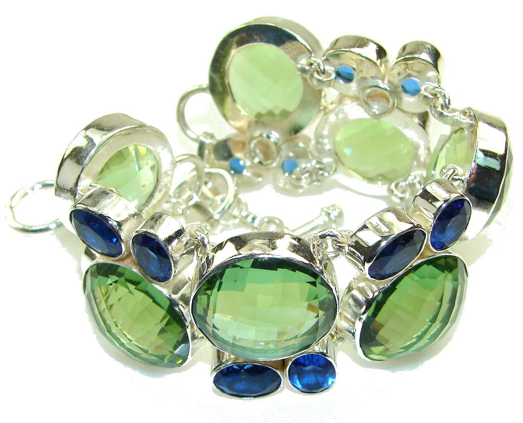 Green Island!! Created Green Amethyst Sterling Silver Bracelet