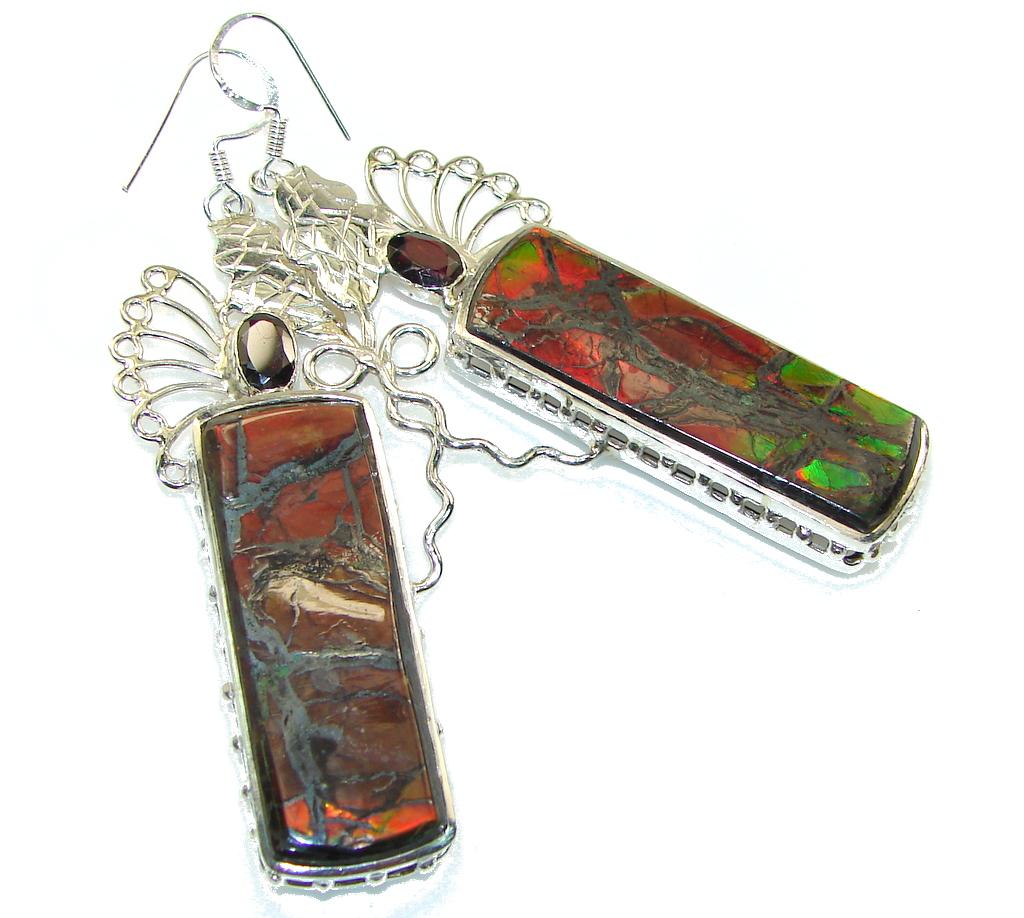 Beautiful Design!! Ammolite Sterling Silver earrings / Long