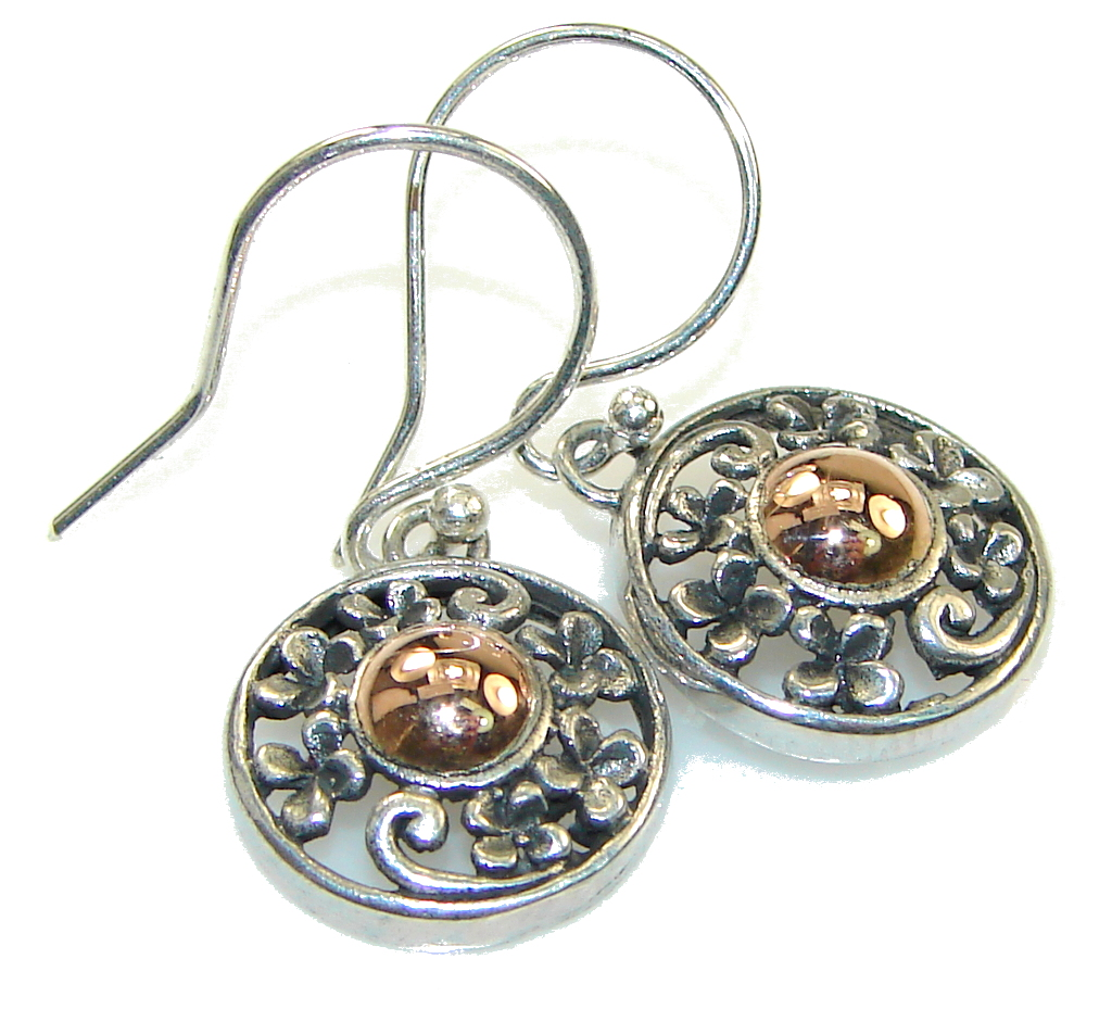 Delicate Two Tones Silver Silver Sterling earrings