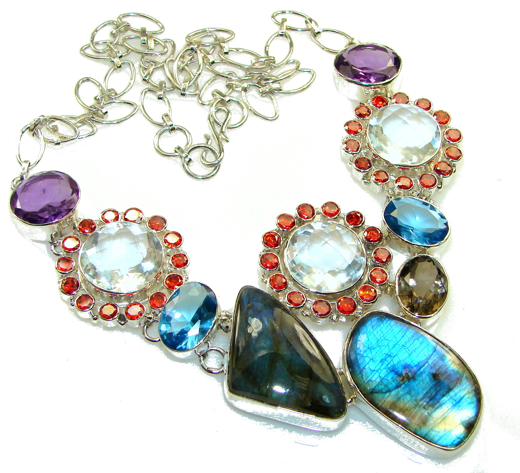 Amazing Design!! Blue Fire Labradorite Sterling Silver necklace