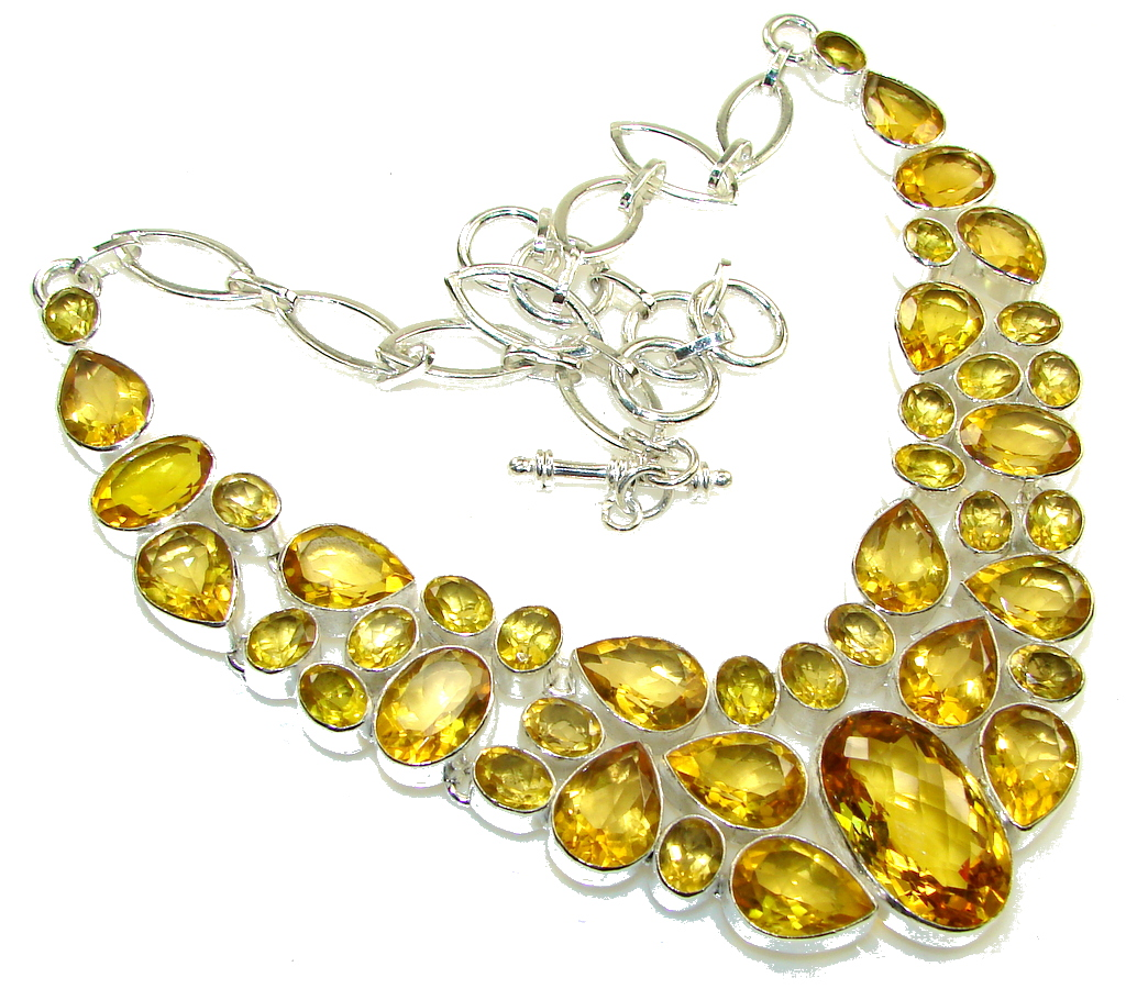 Summer Time!! Created Citrine Sterling Silver Necklace